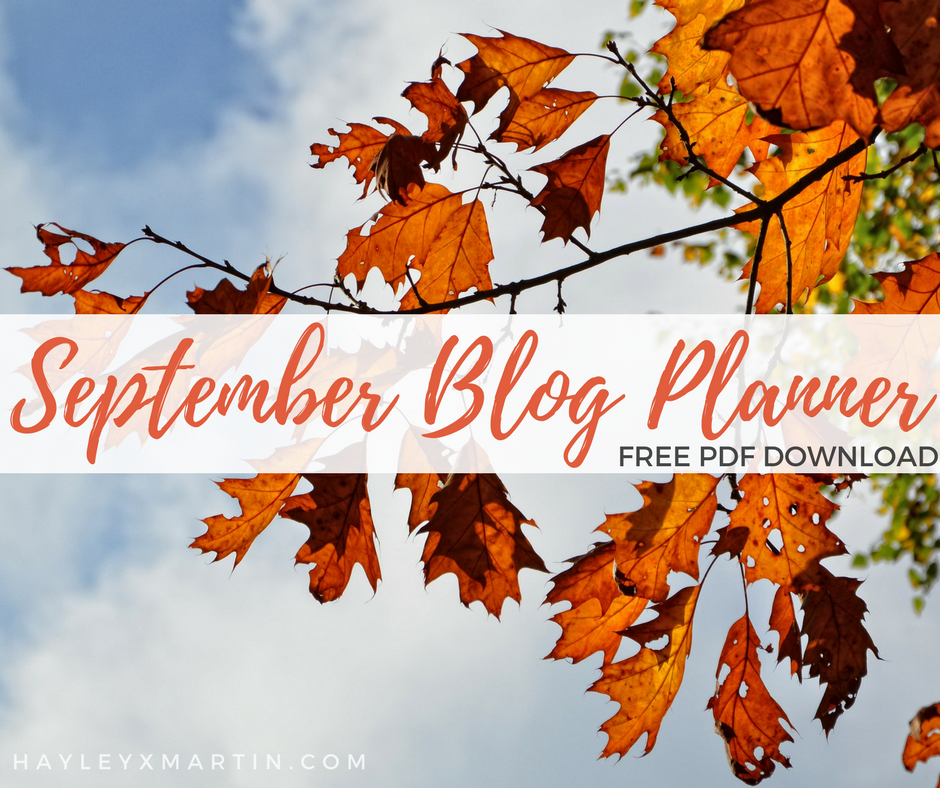 HAYLEYXMARTIN - FREE SEPTEMBER BLOG PLANNER DOWNLOAD