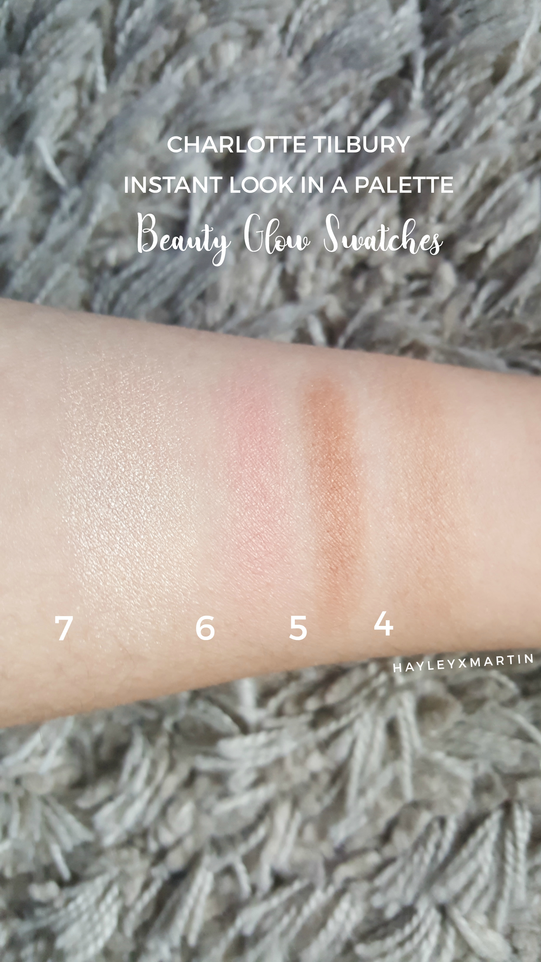 charlotte tilbury beauty glow swatches