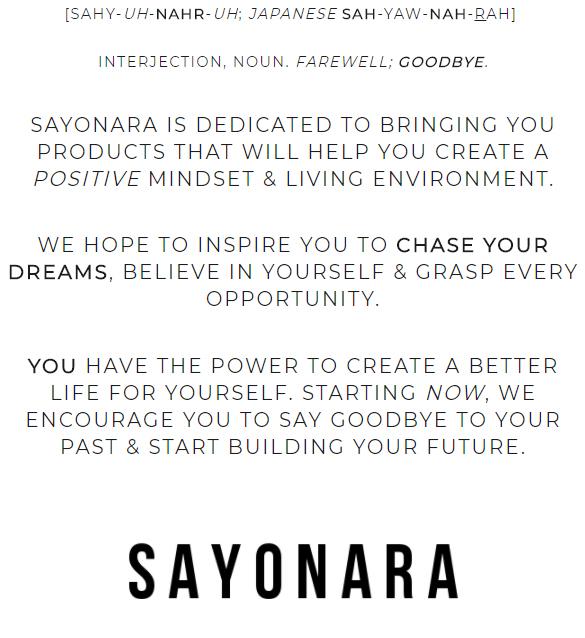 SAYONARA - ABOUT US