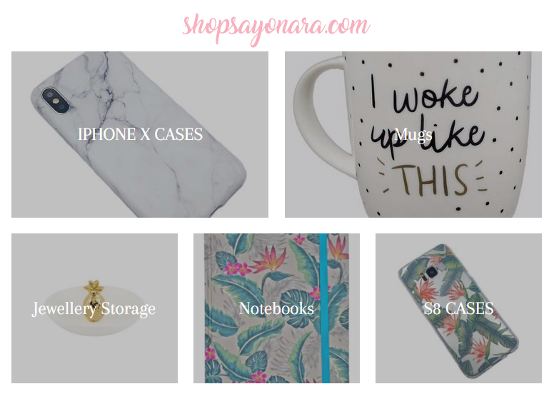 shopsayonara.com - categories