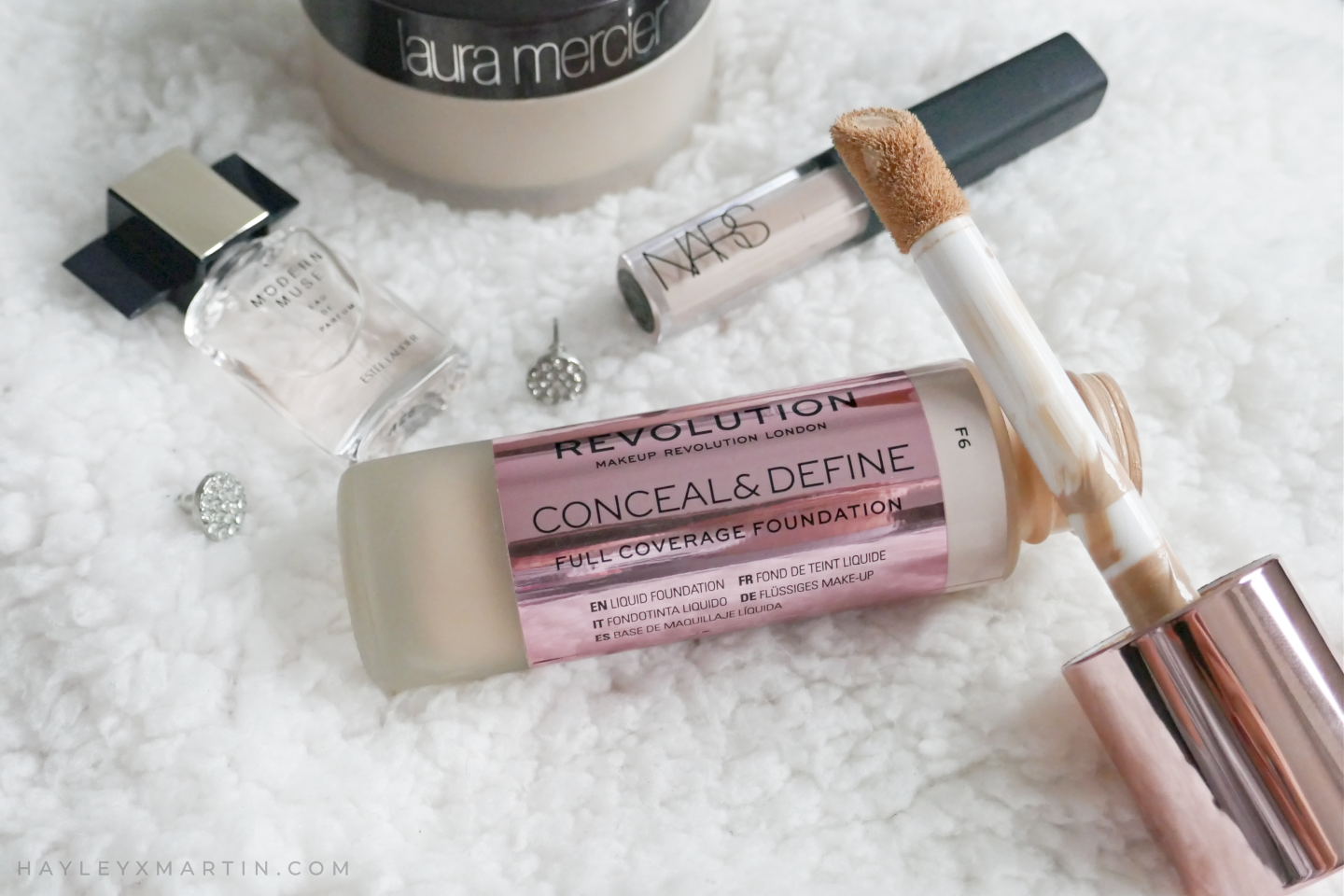 HAYLEYXMARTIN _ MAKEUP REVOLUTION CONCEAL & DEFINE FOUNDATION REVIEW SWATCH