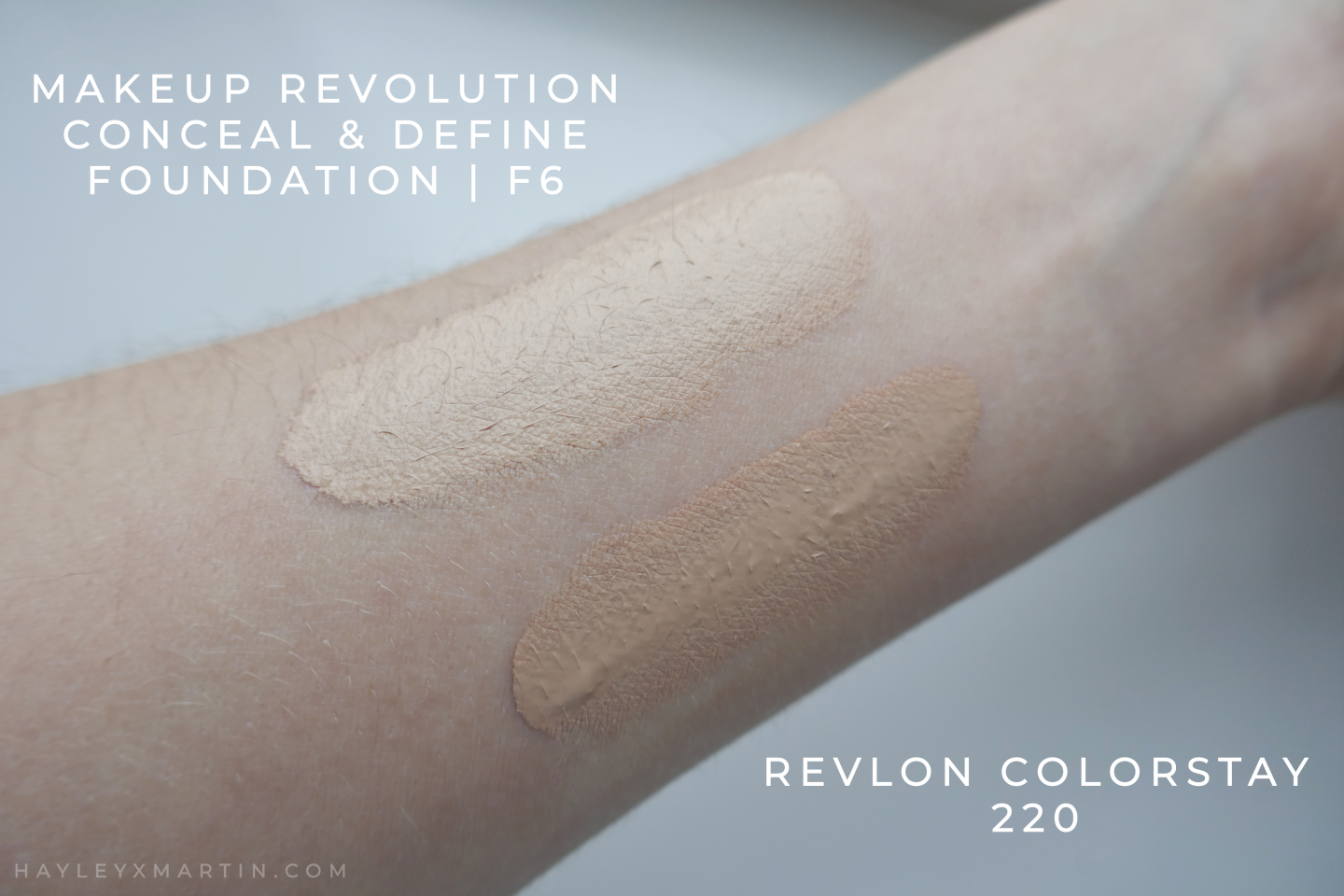 MAKEUP REVOLUTION CONCEAL & DEFINE F6 - REVLON COLORSTAY 220 SWATCH