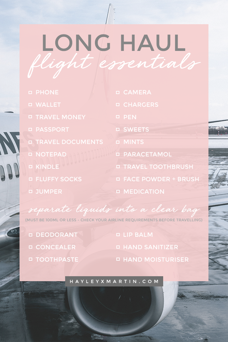 LONG HAUL FLIGHT ESSENTIALS CHECKLIST - HAYLEYXMARTIN